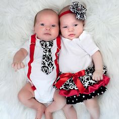 Boy and Girl Twins  Girls Ruffle Onesie Dress and by Brittybird, $50.00