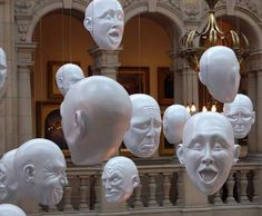 Nice effect! Glasgow - floating heads - Elvin Grove art gallery.  Halloween idea, cut styrofoam heads and hang from clear line from ceiling, maybe draped with cheese/cloth or gauze?