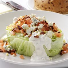 lettuce wedge with bacon,tomatoes, hard boiled egg and homemade bleu cheese dressing. Sounds amazing!