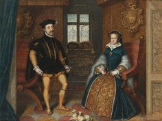 Portrait of Queen Mary I and her consort Philip of Spain, attributed to George Perfect Harding. Nineteenth-century.    The painting is a copy of Anthonis Mor's portrait of the couple in Woburn Abbey, Bedfordshire. The original painting is often claimed to be by Hans Eworth, though in a catalogue of Eworth's works, currently being compiled by PhD student Hope Walker, it is not identified with this artist. Thus, attribution varies.