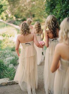 nude tulle bridesmaids dresses