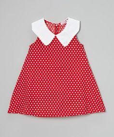 Loving this Red Polka Dot Peter Pan Collar Dress - Toddler & Girls on #zulily! #zulilyfinds