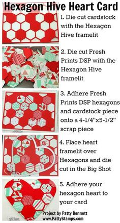 How To create a heart with the Hexagon Hive framelit and your Big Shot from Stampin' Up! by Patty Bennett, www.PattyStamps.com