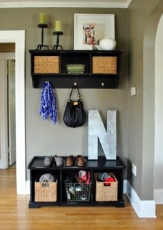Entryway idea that I could really do here! decor, wall colors, idea, bench, entryways, mud rooms, front doors, hous, small spaces
