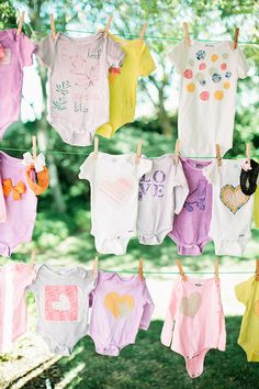 Yes please!!!! have everyone attending the baby shower decorate a onsie clotheslines, girl baby showers, baby shower ideas, onesi, babi girl, baby girl shower, baby girls, clothes lines, babi shower
