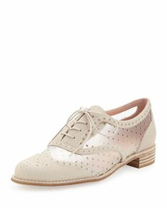Dandyperf Perforated Oxford, Ivory  by Stuart Weitzman at Neiman Marcus.
