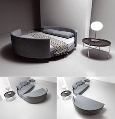 Sophisticated Beds as Futuristic Bed in Unusual Shape: Round Shaped Bed Ball Table Lamp Multifunction Sofa Bed Round Bedside Table ~ jangrue.com Bedroom Inspiration
