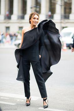 wow. black ruffle pantsuit in Milan. fairly epic.