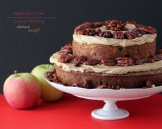 Apple Spice Cake with Caramel Frosting and Cinnamon Pecans from #dietersdownfall.com