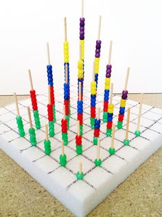 How to build a multiplication tower using skewers and beads. It shows several interesting patterns in times tables. A great visual and movement activity.