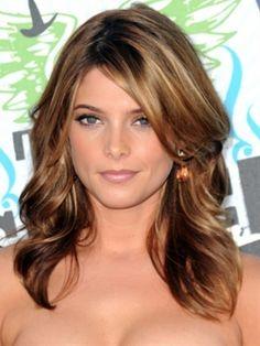 medium length hair& dark warm brown & highlights