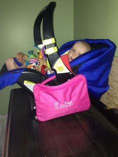 Love this idea!  Great for moms, moms to be or a shower gift!  Moms hate carrying your diaper bag when you just need to run in quick, This is perfect!! Use the Pocket a Tablet instead!! Attaches right to the car seat and is large enough to hold a wipes container, diaper, pacifiers, a small toy or two and all your Thirty-One Everyday Wristlet. What an organized mommy!