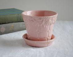 "Vintage Pink McCoy Planter, ""Roses on a Brick Wall"" McCoy Planter, Pink Pot and Saucer"