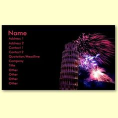Tower of Pisa Fireworks Profile Card Business Cards by elena_indolfi