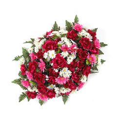 36 Inch Mixed Peony Headstone Spray with Fuchsia Flowers.  Beautiful silk flower arrangement for Mother's Day.