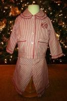 $36.00 Child/toddler Red and White Striped Pajama set Girl   Sizes 6-12 mo, 12-18 and 18-24 mo pajamas. Www.firstcomeslove.net