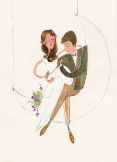 "On the Moon - Custom Wedding Portrait Original Illustration - Unframed 8""x10"""