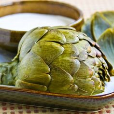 You can cook artichokes in less than ten minutes in the pressure cooker!  [#SouthBeachDiet friendly from Kalyn's Kitchen]