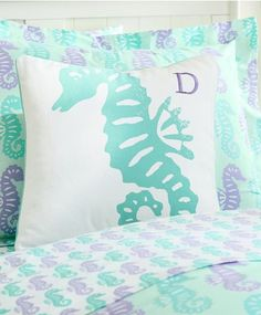 Seahorse bedding in mint & lavender http://rstyle.me/n/g7vw6nyg6