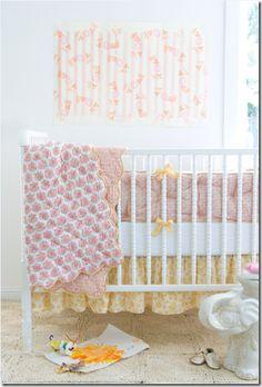 nursery bedding by Rikshaw Design for a baby girl, jenny lind white crib #nursery