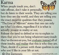 KARMA.  When people insult you, don't take offense, don't take it personally, but do listen to their words. They are telling you how they see the world, and they are telling you the exact negative qualities that they possess ...  - Doe Zantamata, Author. From her book:     Love to you: A little book of inspiration