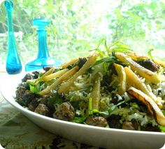 Turmeric and Saffron: Shirazi Rice With Tiny Meatballs, Herbs & Kohlrabi Fries (Kalam Polow Shirazi)