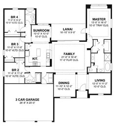 First Floor Plan of Florida   Ranch   Traditional   House Plan 66855