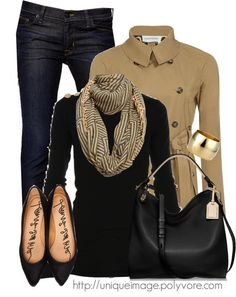 Sailor collar neck sweater (black) with gold buttons, tube scarf, super skinny jeans, pointed ballerine flats (black), short trench coat (camel), hobo (black), & dome bangle (gold)