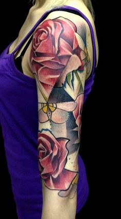 Rose Tattoo Sleeve by Marie Kraus