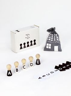 Natural wood dollhouse people with customizable alphabet clothes and faces you can paint