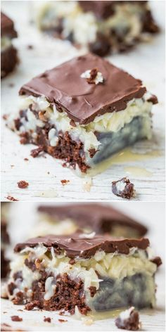 Chocolate Coconut Mounds Bar Brownies - Like eating a Mounds candy bar that's on top of rich, fudgy brownies! Easy & so good!