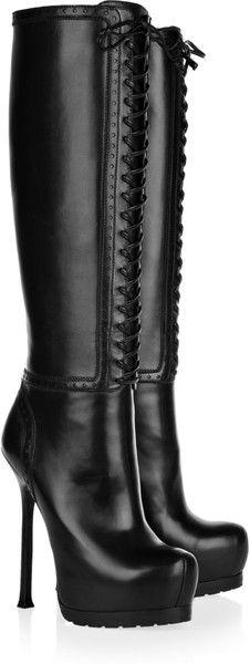 Yves Saint Laurent Tribtoo Leather Knee Boots in Black
