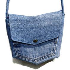 Recycled Blue Denim Pocket Bag.  via Etsy.