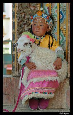 Beautiful child, colors and fabrics