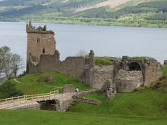Urquhart Castle with Loch Ness in the background  - Scotland