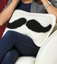 Mustache Pillow free crochet pattern