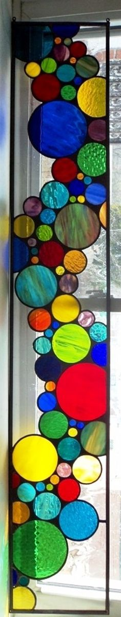 Contemporary Stained Glass Sidelite | Hanging Panel