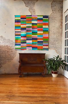 Great quilt! Great photos! olive and ollie: Improv Color Block Quilt for Coats and Clark