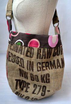 Recycled Burlap Coffee Sack Handbag.