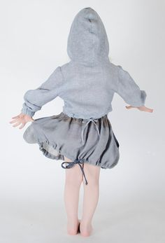 Girls Wool Linen Grey Skirt Bunny Ears with dark grey by FancyFlax, $49.00