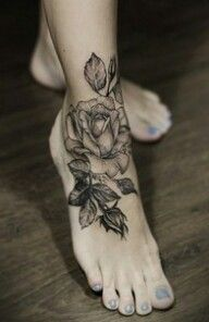 Rose ankle tattoo. tattoo idea, cover up, black rose, feet tattoos, white roses, foot tattoo, rose tattoos, flower tattoos, tattoo ink