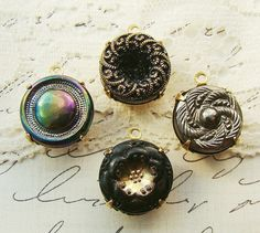 Vintage Ornate Black and Gold Pressed Czech Glass Button Charms  by alyssabethsvintage