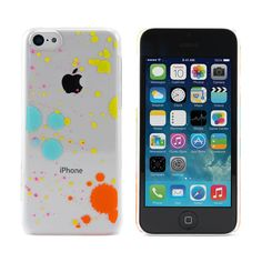 iPhone 5C Case – Clear Case with Multicoloured Splatter Paint