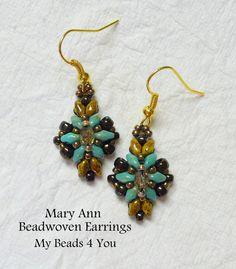 SuperDuo Beadwoven Earrings, Beadwoven, Beadwork Earrings, Crystal Earrings, Beaded Earrings, SuperDuo Beads, Jewelry Gift