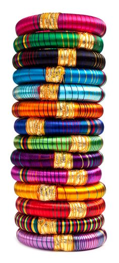 Bhangra Striped Bangles -- silk threads, gold fabric