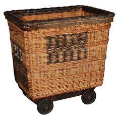 Vintage French Hotel Laundry Cart  France  1930