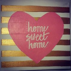 Gold stripes and Heart. Hand Painted Canvas Art.