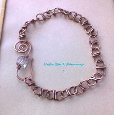 handwrapped copper bracelet w/ crystal hook