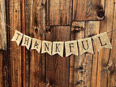 Thankful Thanksgiving Burlap Banner