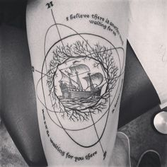 "Done by Jason at Alchemy Tattoo in Los Angeles, CA USA""I believe there is another world waiting for us. A better world, and I'll be waiting for you there"" - Cloud Atlas Clouds, Thigh Tattoos, World Maps, Nautical Tattoos, Alchemi Tattoo, Los Angeles, Cloud Atlas Tattoos, A Tattoo, Ink"